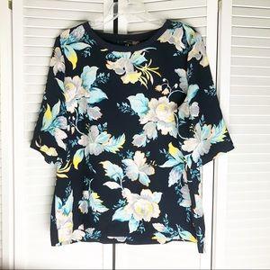 Ann Taylor Navy Floral Blouse Top Large